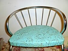 Vintage child's CHAIR Mid Century Modern  atomic turquoise blue w/ chrome retro