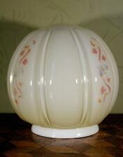 Superb Vintage Art Deco Opaque Floral Ribbed Glass Globe Lamp Light Shade WOW !