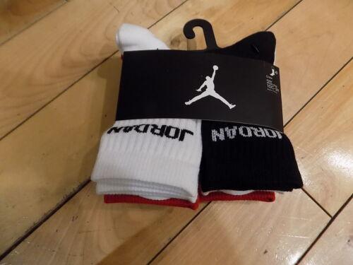 Boys Nike Jordan 6 Pack Pair Black Red White Crew Socks Shoe Size 10C-3 Youth