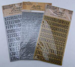 Tim Holtz idea-ology Metallic Stickers Industrious Cirque Alpha Gold Silver 3pk