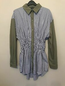 BNWT-ZARA-KHAKI-GREEN-CONTRASTING-STRIPED-SHIRT-WITH-SHIRRED-WAIST-SIZE-S