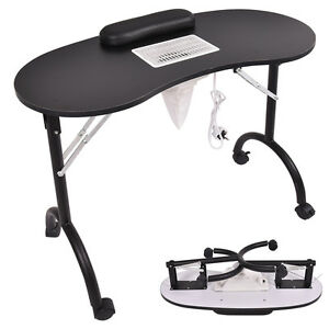 Black Folding Portable Vented Manicure Table Nail Desk
