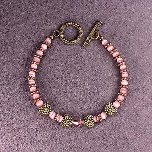ROMANTIC HEARTS FANTASY BRACELET Pink Bronze Crystals Catseye Vintage Style Look