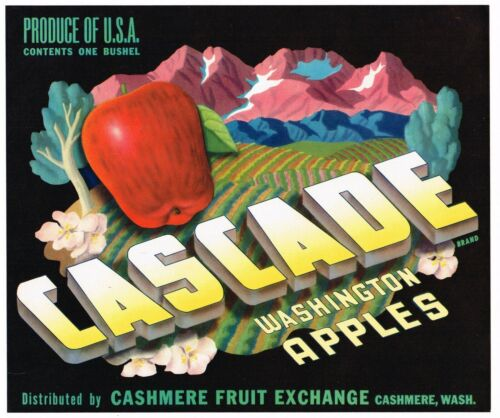 ORIGINAL 1940S CRATE LABEL VINTAGE CASCADE CASHMERE SURREALISM ART APPLE