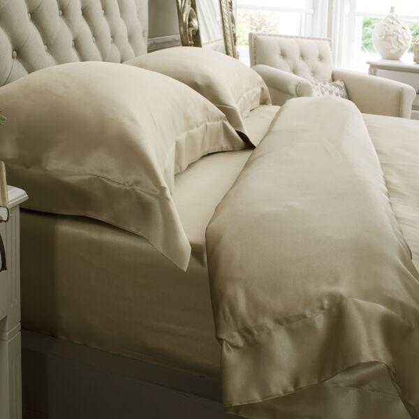 Jasmine Silk 4 Teile 100% Charmeuse Seide Bettbezug Set (taupe) einzeln | Starker Wert
