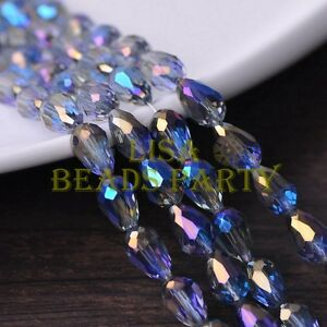 New-30pcs-12X8mm-Faceted-Teardrop-Crystal-Glass-Spacer-Loose-Bead-Blue-Colorized