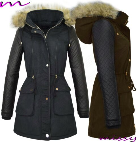 NEW Womens LADIES PARKA JACKET Quilted PU Sleeves WINTER COAT FISHTAIL Size 8-1