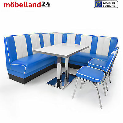 AMERICAN DINER Sitzgruppe XXL Blau: 2 Dinerbänke + Ecke +2 Retro Stühle + Tisch