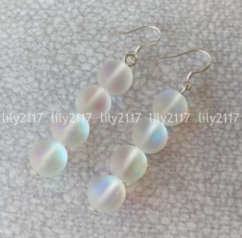 Pretty 6//8//10//12mm Naturel Blanc Pierre De Lune Ronde Pierres Précieuses Perles Crochet Dangle Boucles d/'oreilles