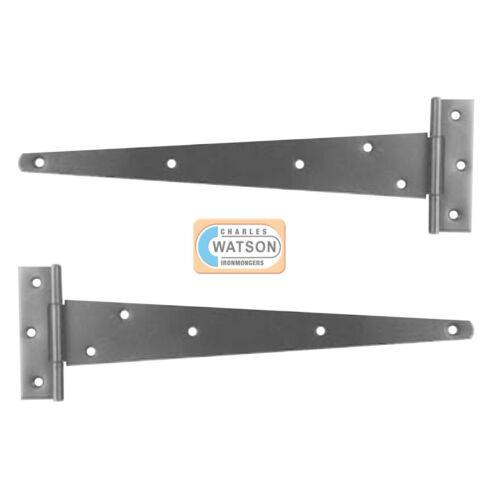 """Pair 10/"""",12/"""",16/"""" T TEE HINGES Self Colour HEAVY Duty Shed Door Hutch Gate"""