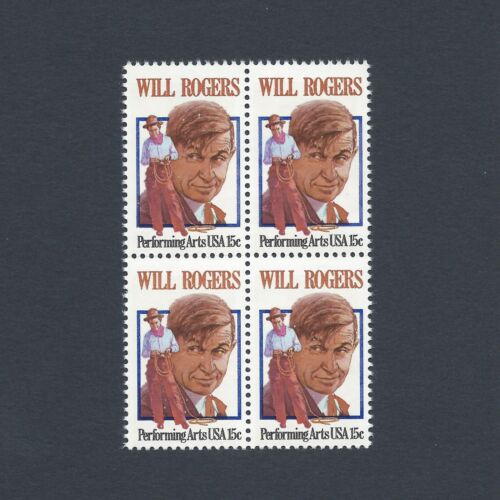Will Rogers American Humorist and Movie Star Mint Set of 4 Stamps 40 Years Old!
