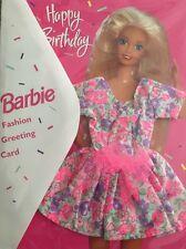 NEW BARBIE DOLL FASHION GREETING CARD HAPPY BIRTHDAY PINK FLORAL BOW