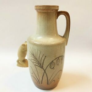 West-Germany-Pottery-Jug-Vase-26cm-Tall-404-26-Brown-amp-Tan-70s-Vintage
