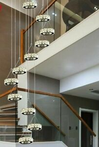 Details About Spiral Crystal Ceiling Light Long Modern Indoor Home Hotel Led Lighting Fixtures