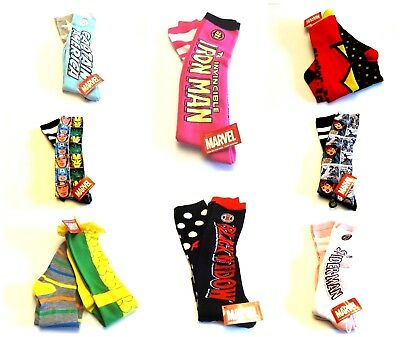 Marvel Women/'s Knee Socks 2-Pairs Spiderman Hulk Loki Dare Devil IronMan  NWT