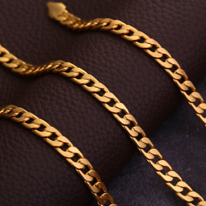 18k-Gold-Plated-Stamped-Chain-Necklace-Yellow-Flat-Chain-Pendant-16-30-034-6MM-Mens