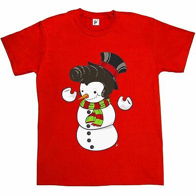 Smiling Happy Christmas Snowman Ring Wreath Rainbow Mens T-Shirt