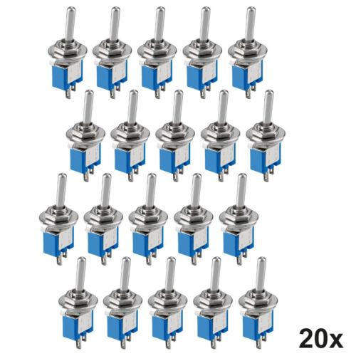 mit Lötösen 20x Miniatur Kippschalter Subminiatur 2-polig Ein-Aus Schalter