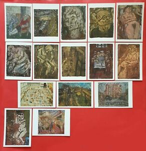 Set-of-14-Brand-New-Art-Postcards-The-Leon-Kossoff-Collection