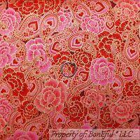 BonEful FABRIC FQ Cotton Quilt Red Pink Flower Rose Metallic Paisley S Valentine