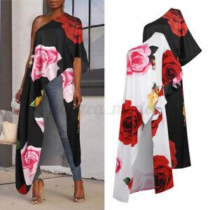 US-Women-One-Shoulder-Beach-Shirt-High-Low-Tops-Floral-Cocktail-Blouse-Dress-Tee