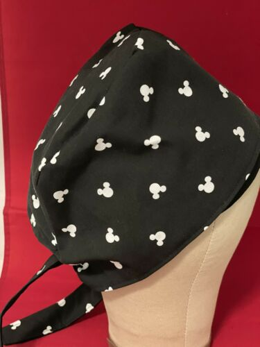Men//Women Surgical Scrub Cap Black//white Mickey Mouse