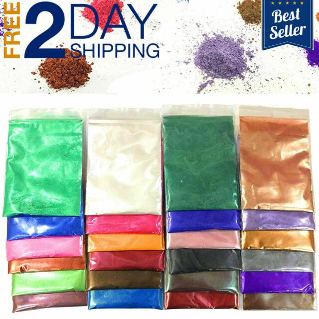 Mica Powder Pigments 24 Colors Cosmetic Grade Bath Bomb Soap Making Colorant Dye