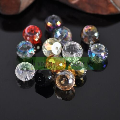 10//30Pcs 12 mm TAMBOUR Round Crystal Glass Faceted Loose Spacer Beads Making Craft
