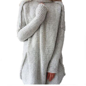 Fashion Women's Oversized Loose Knit Sweater Turtleneck Long ...
