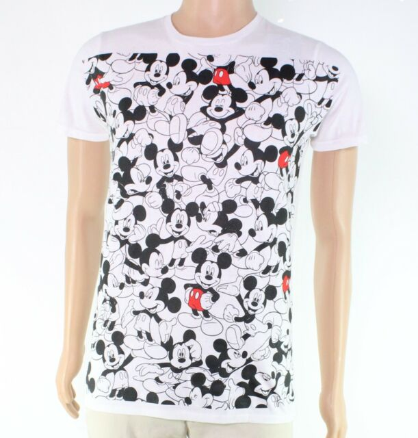 Disney Mens T-Shirt White Size Medium M Repeating Mickey Tee Crewneck $24- #133