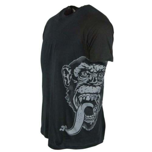 Hombre Oficial Gas Mono Garaje Lado Estampado Camiseta Negro Fast N RUIDOSA