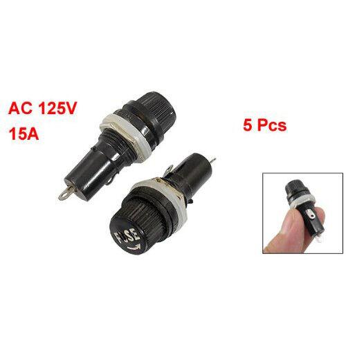 New 5Pcs Black AC 15A 125V Screw Cap Panel Mounted 5 x 20mm Fuse Holder HY