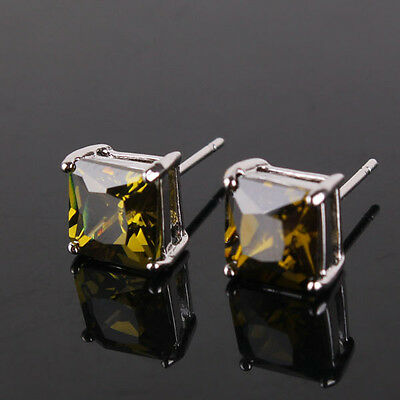18k white gold filled peridot Fashionable chic Journey party stud earring