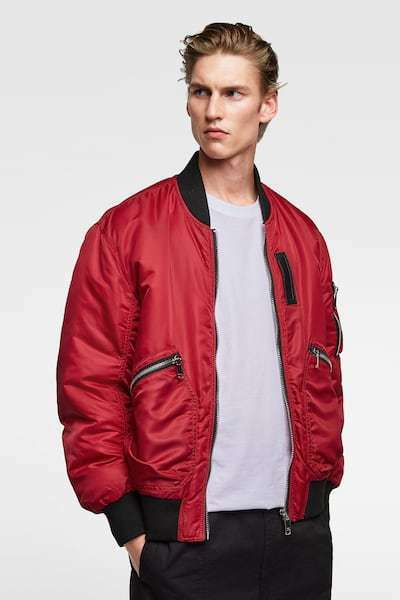 ZARA MAN RED PADDED BOMBER with HEAVY DUTY ZIPPERS Size L BNWT  SUPER COOL