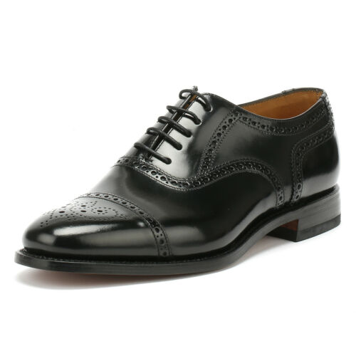 Loake Mens Black 201B Brogue Classic Formal Shoes Lace Up Leather Smarts
