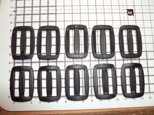 """10 x plastique noir delrin 3 bar slides boucles pour sangle 30 mm /""""D/"""""""