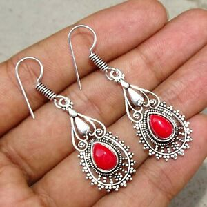 925 Sterling Silver Plated Red Coral Handmade Earrings Jewellery O0610-1