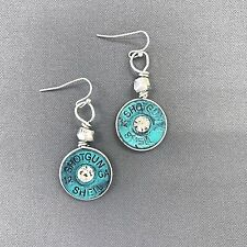 Antique Silver Patina Shotgun Shell 12 GA Design Rhinestone Drop Dangle Earrings