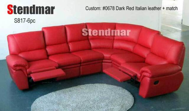 6PC MODERN LEATHER SECTIONAL SOFA 2-RECLINERS S817