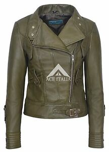 Olive Motorcycle Ladies Biker Napa Style Army Leather 4110 100 Real Jacket E1WqfP