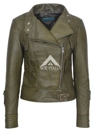 Olive Motorcycle Real Jacket Napa 100 Biker Style 4110 Ladies Leather Army IEqTy