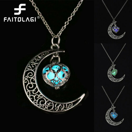 Moon Glowing Collier Gemme Charme Bijoux Plaqué Argent Halloween Cadeaux pour femmes