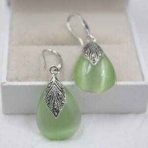 FINE 925 Sterling Silver Apple Green Jade Raindrop Dangle Earrings