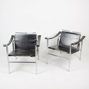 1960 S Vintage Pair Le Corbusier Lc1 Stendig Basculant Chairs Thonet