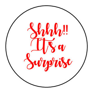 Details About Shhh It S A Surprise Suprise Stickers Party Bag Sweetie Cone Birthday Labels Tag