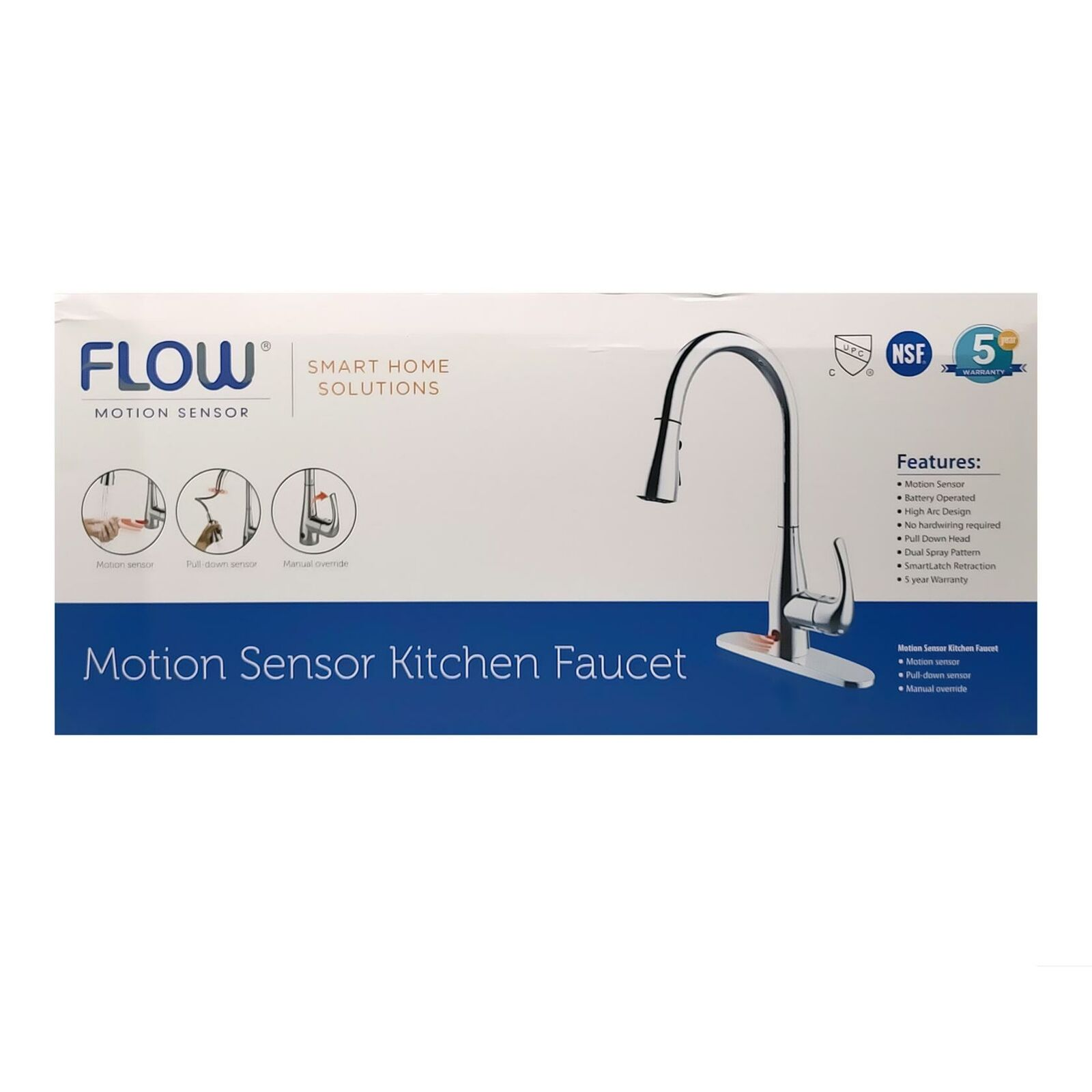 Flow Single Handle Pull Down Sprayer Kitchen Faucet With Motion Sensor In Chrome