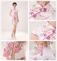 Sexy Chinese Style Women Pink print Evening Cheongsam short Dress Evening Qipao
