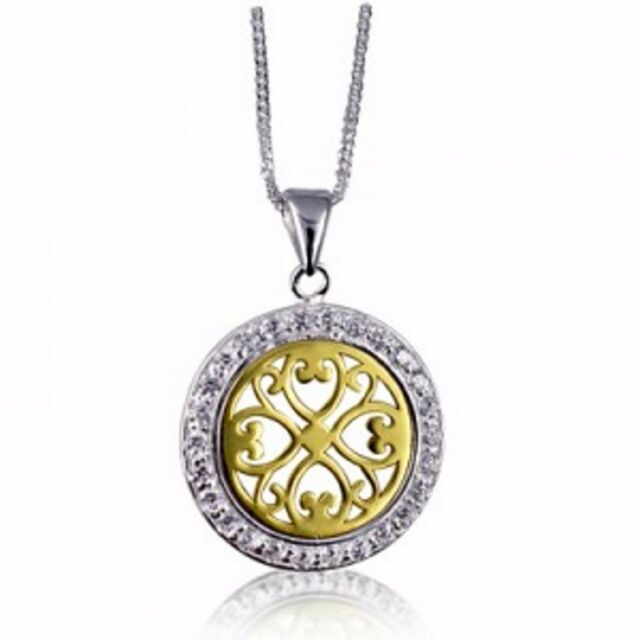 NEW Genuine Solid 925 Sterling Silver Round Filigree CZ Pendant Plus 925 Chain