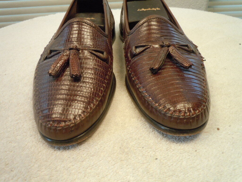 BELVEDERE braun Lizard & & & Leather Made  Slip On Loafer Sz 10.5 W 7cdc30