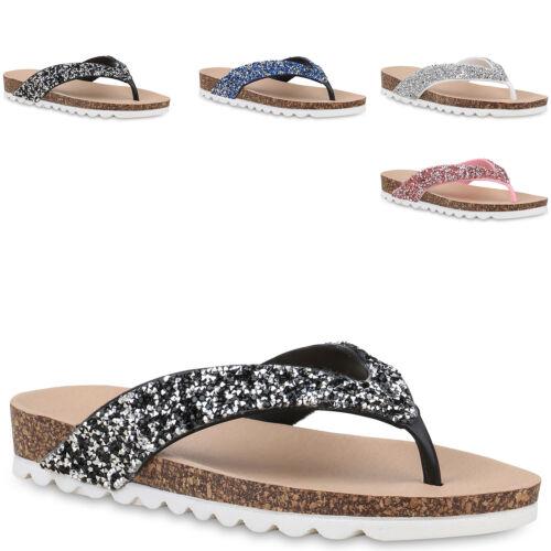 Damen Zehensteg Sandalen Zehentrenner Strass Kork-Optik Schuhe 830708 Trendy Neu